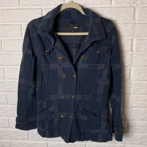 Hurley Jacket Size Small Navy Blue Gray Plaid